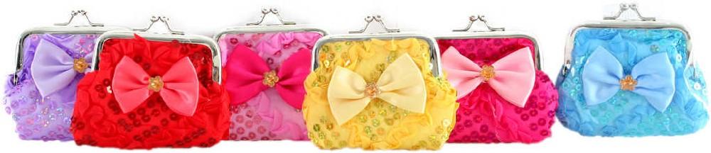 Peněženka malá dětská holčičí mašle 9 cm zdobená s glitry - 6 barev