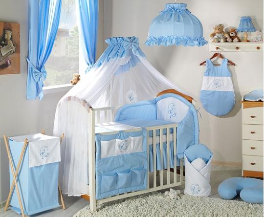 Luxusní mega set s moskytierou - Měsíček modrý - 135x100