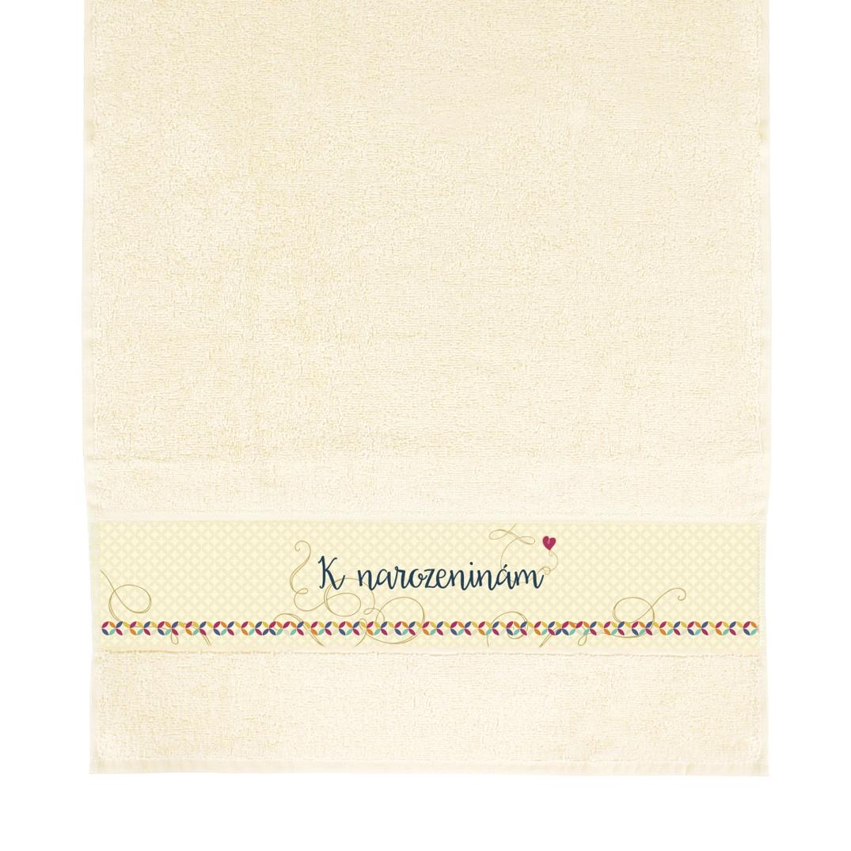 Dárkové ručníky - Béžový ručník - K narozeninám