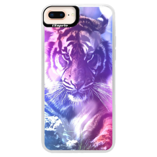 Neonové pouzdro Pink iSaprio - Purple Tiger - iPhone 8 Plus