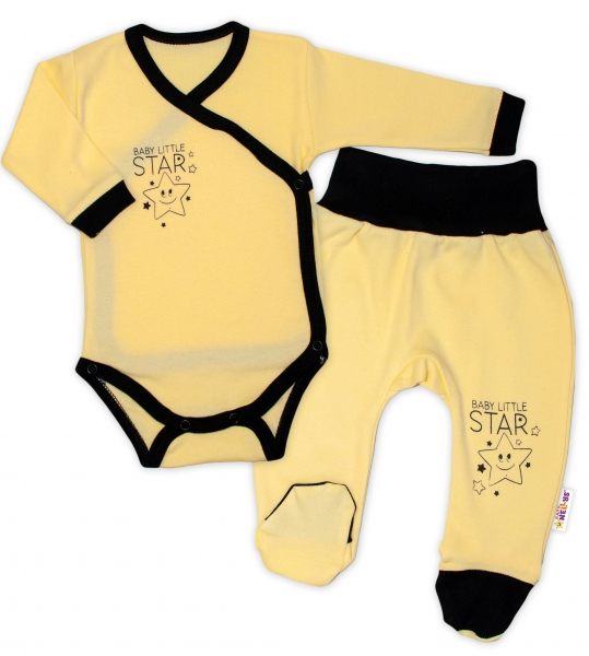 Baby Nellys 2-dílná sada body dl. rukáv + polodupačky, žlutá - Baby Little