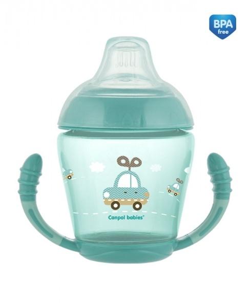 Canpol babies Nevylévací hrníček Toys - tyrkysový
