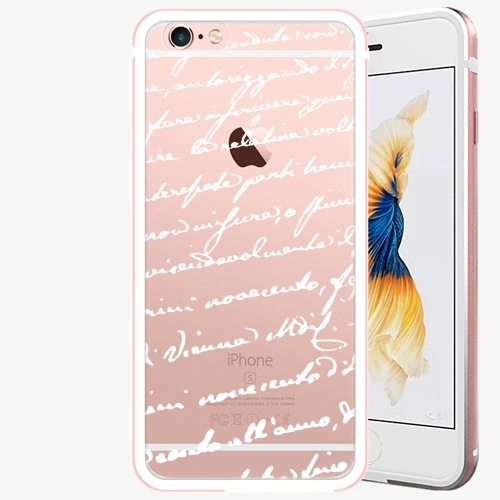 Plastový kryt iSaprio - Handwiting 01 - white - iPhone 6 Plus/6S Plus - Rose Gold