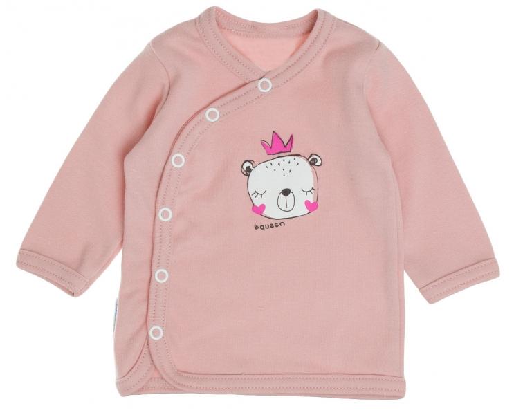 Bavlněná košilka MBaby, dl. rukáv, zapínání bokem - Princezna, pudrově růžová, roz. 68 - 6