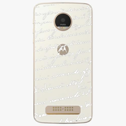 Plastový kryt iSaprio - Handwriting 01 - white - Lenovo Moto Z Play