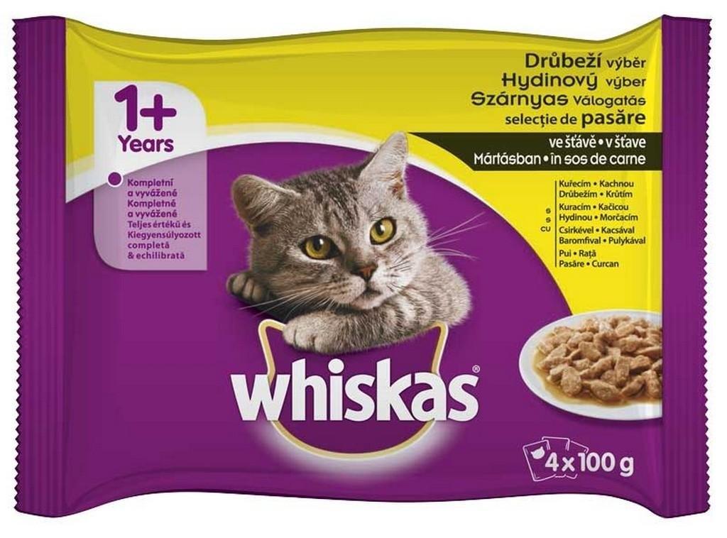 Drůbeží výběr ve šťávě kapsička pro kočky 4x100 g