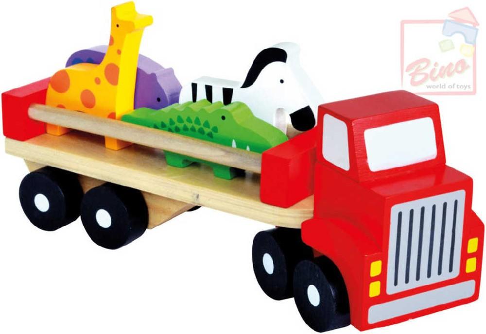 BINO DŘEVO Baby náklaďák herní set se 4 zvířátky