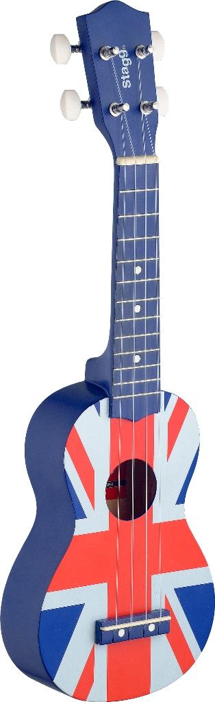 Stagg US UK-FLAG, sopránové ukulele, modré s motivem britské vlajky