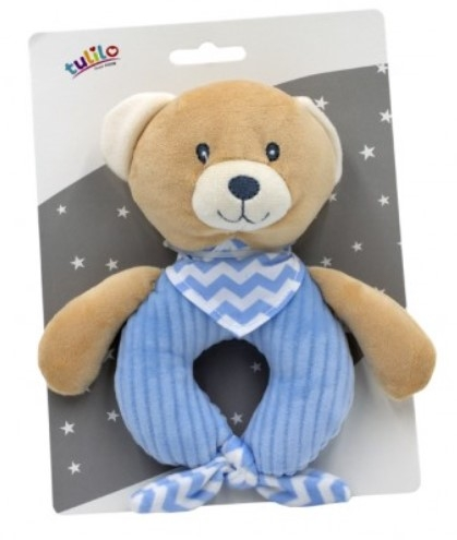 Tulilo Závěsná plyšová hračka s chrastítkem Méďa Teddy, 15 cm - modrý