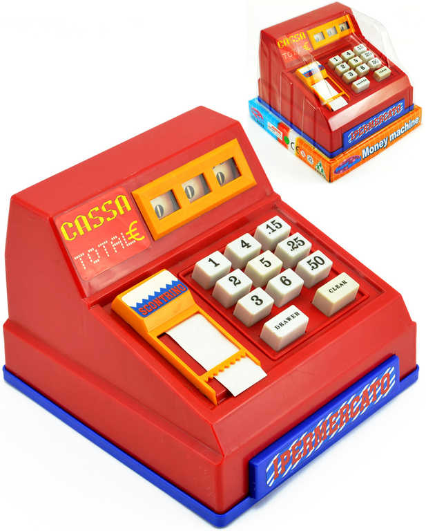 Pokladna dětská registrační mechanická 17x13cm červená retro na blistru plast