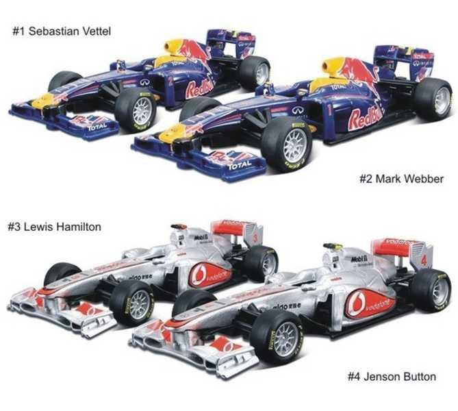 BBURAGO Formule auto, McLaren a Red Bull 2011 (model 1:32 Formula)