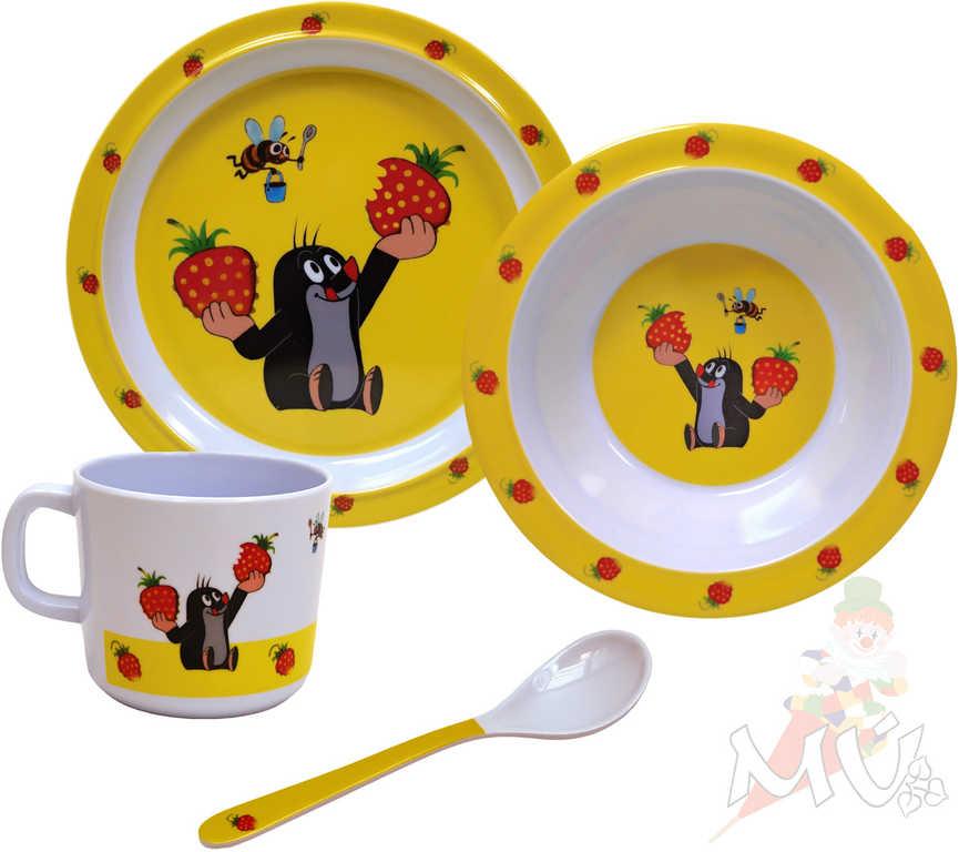 MORAVSKÁ ÚSTŘEDNA Krtek (Krteček) JAHODY Dětská sada nádobí set kuchyňský 4 díly