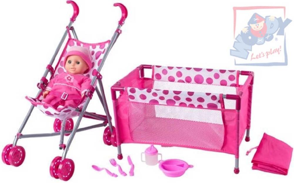 WOODY Kočárek golfové hole baby set panenka miminko s postýlkou a doplňky