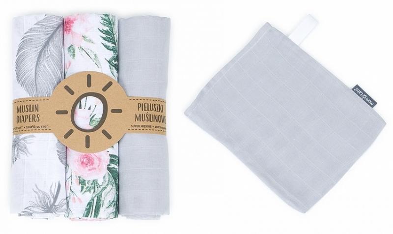 Mamo Tato Mušelínové plenky 3ks + žínka zdarma - šedá, květy, pírka