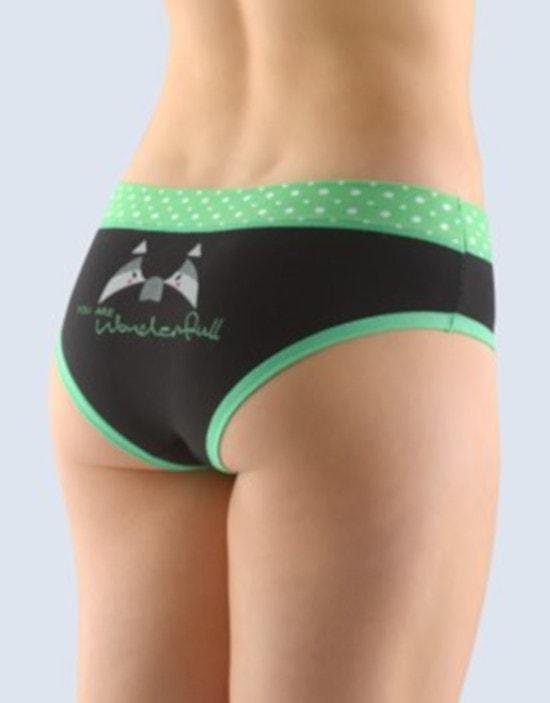 GINA dámské kalhotky francouzské, šité, bokové, s potiskem Funny 4 collection 14137P - máta černá