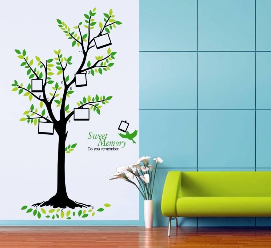 Samolepka na zeď strom s rámečky na fotky