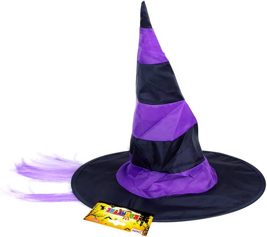 KARNEVAL Klobouk čarodějnický s fialovými vlasy *KARNEVALOVÝ DOPLNĚK*