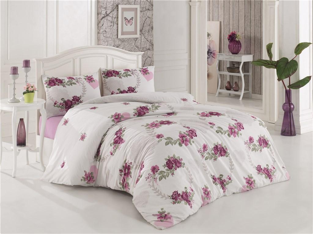 Povlečení francouzské bavlna 240x200,70x90 Květa lila, Výběr zapínání: