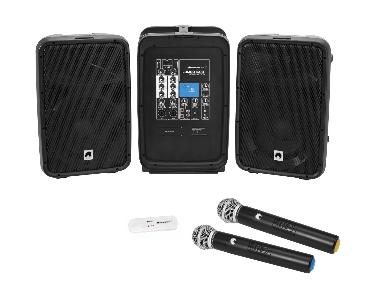 Omnitronic Set COMBO-160BT active PA system + UWM-2HH USB bezdrátové mikrofony