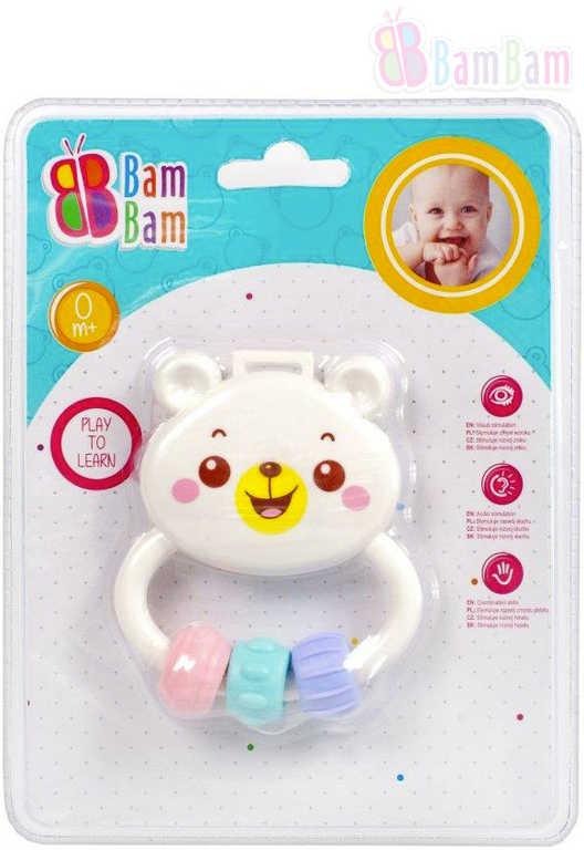 ET BAM BAM Baby chrastítko MEDVÍDEK bílý pro miminko