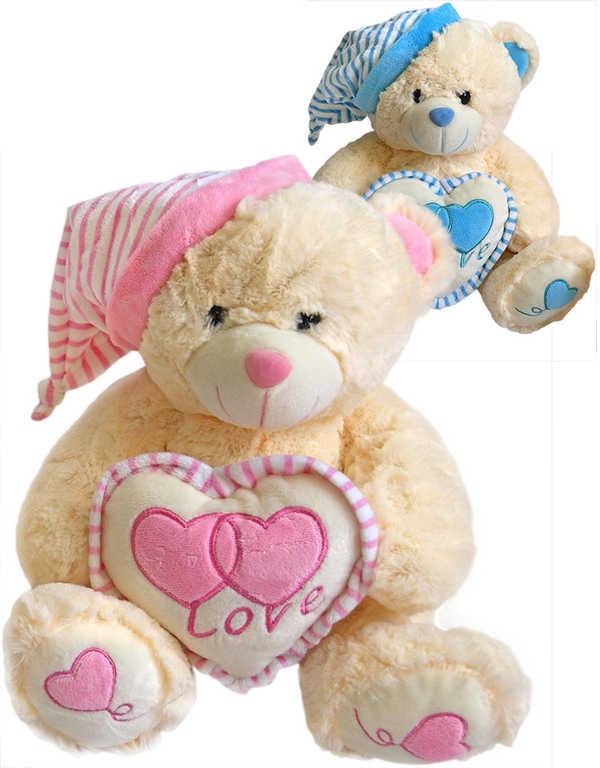 PLYŠ Medvídek se srdíčkem 30cm s čepičkou Love 2 barvy *PLYŠOVÉ HRAČKY*
