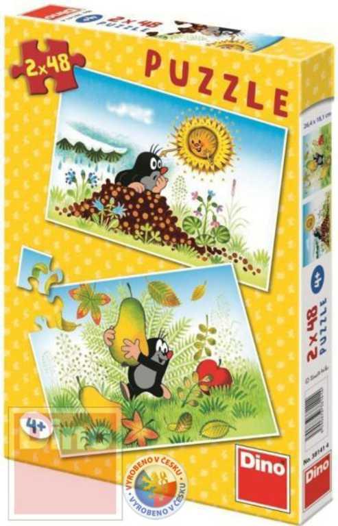 DINO Puzzle 2 x 48 dílků Krtkův svět Krteček