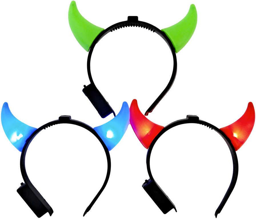 KARNEVAL Čelenka rohy svítící na baterie - 3 barvy
