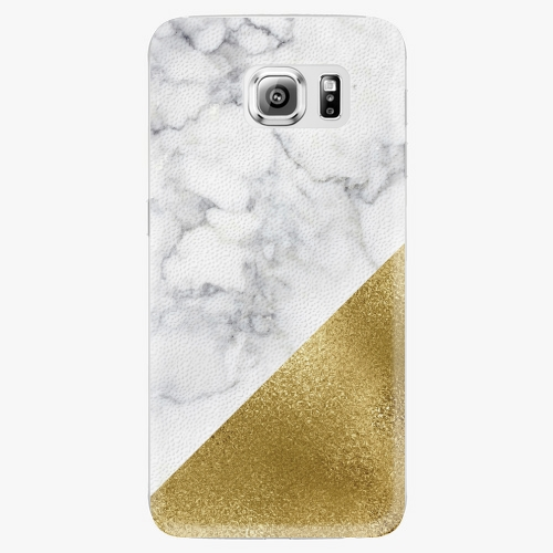 Plastový kryt iSaprio - Gold and WH Marble - Samsung Galaxy S6 Edge Plus