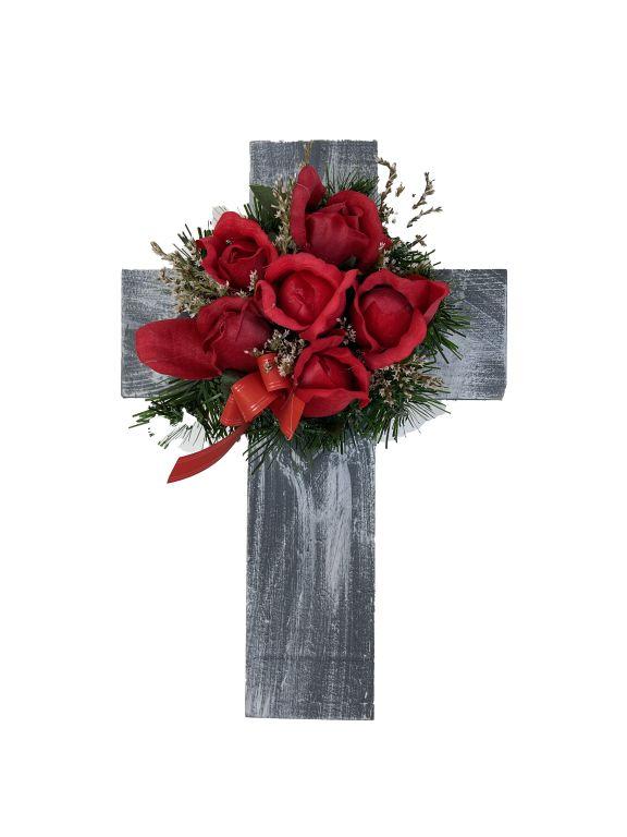 Kříž s umělou květinou v červené barvě, 40 x 26 x 17 cm