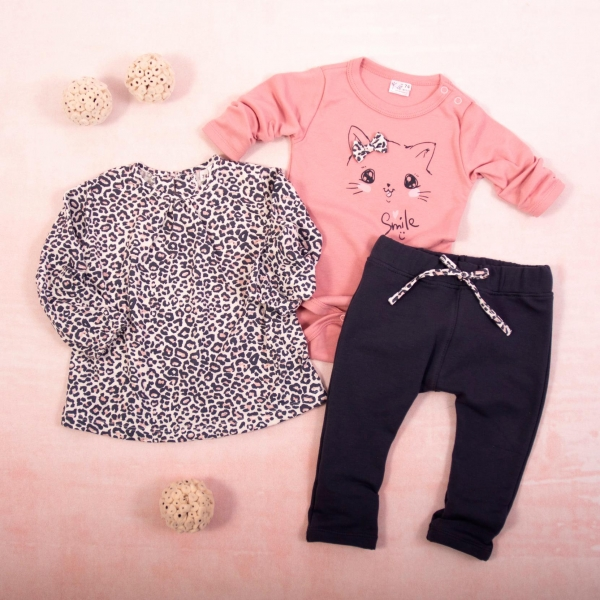 K-Baby 3 dílná sada - 1x body dlouhý rukáv, tunika, legíny, Gepardík - grafit, pudrová - 62 (2-3m)