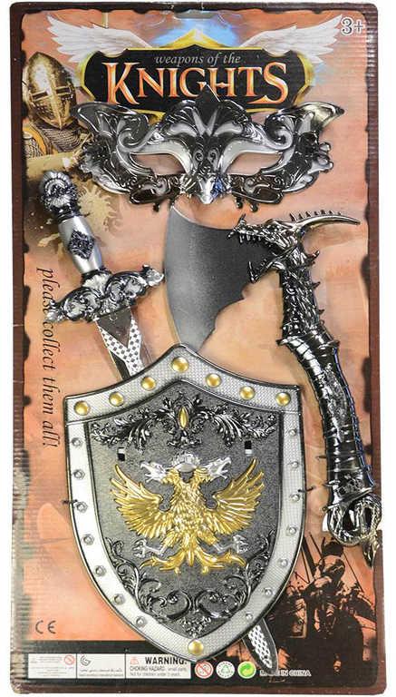 Souprava rytířská set meč stříbrný se štítem a doplňky plast