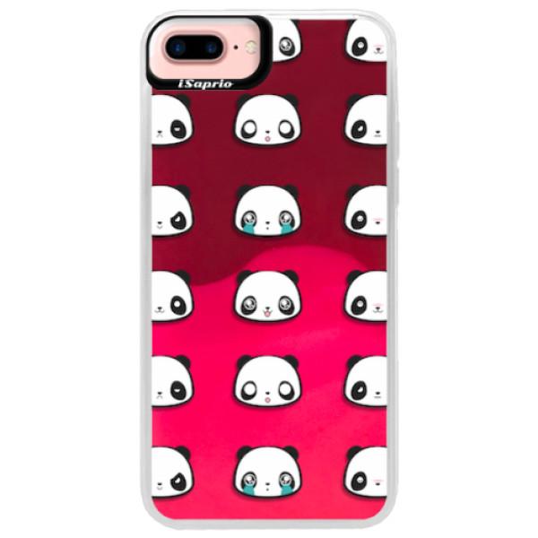 Neonové pouzdro Pink iSaprio - Panda pattern 01 - iPhone 7 Plus