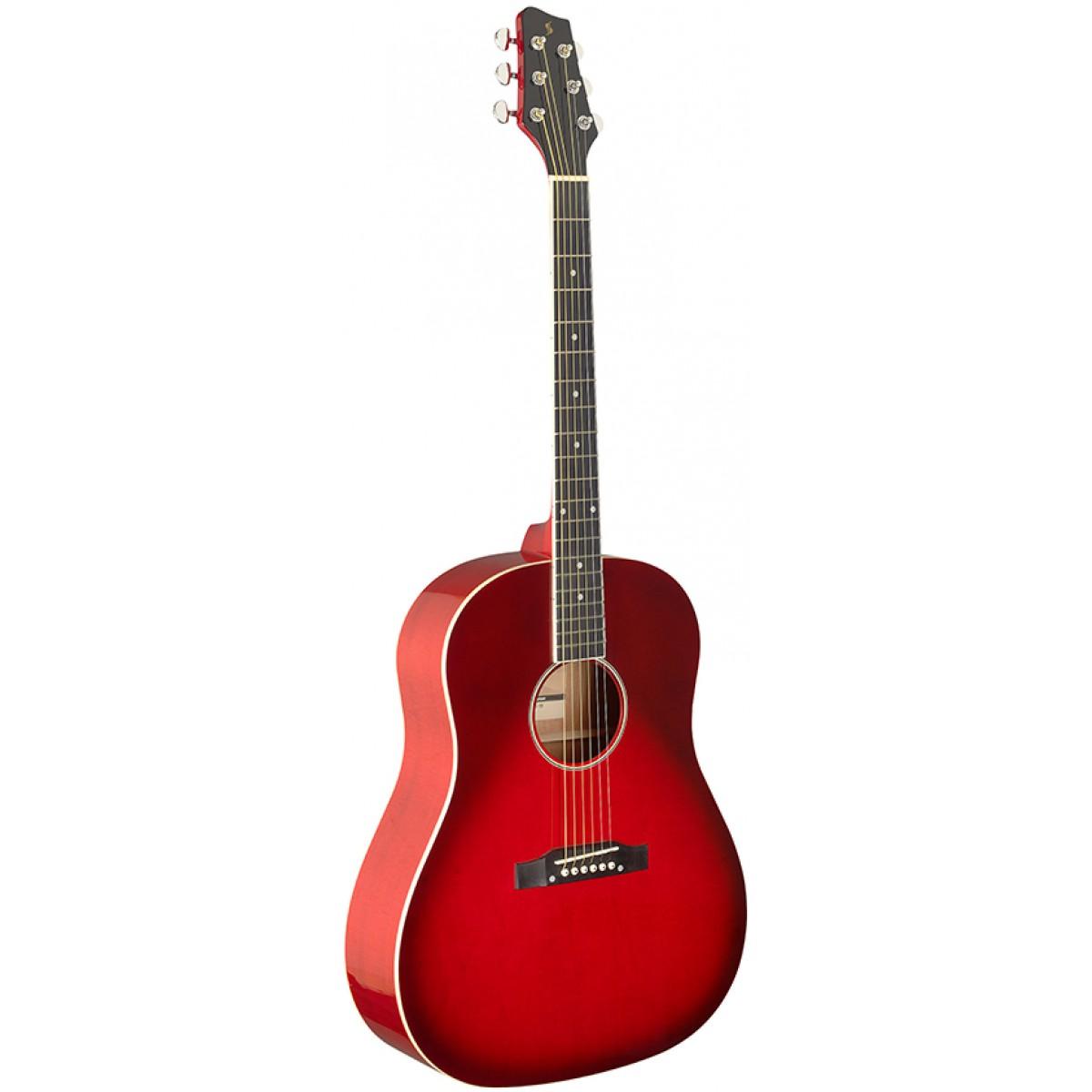 Stagg SA35 DS-TR, akustická kytara, červená