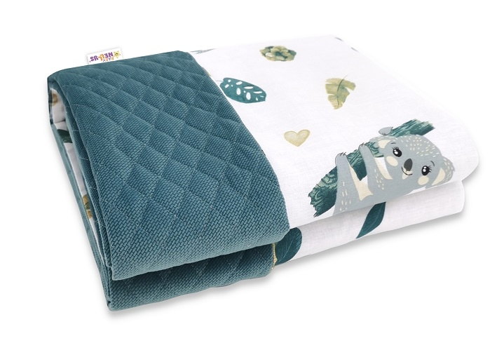 Baby Nellys Oboustranná proš. deka Bavlna + Velvet 100x70cm, Tropical Koala - zelená, bílá
