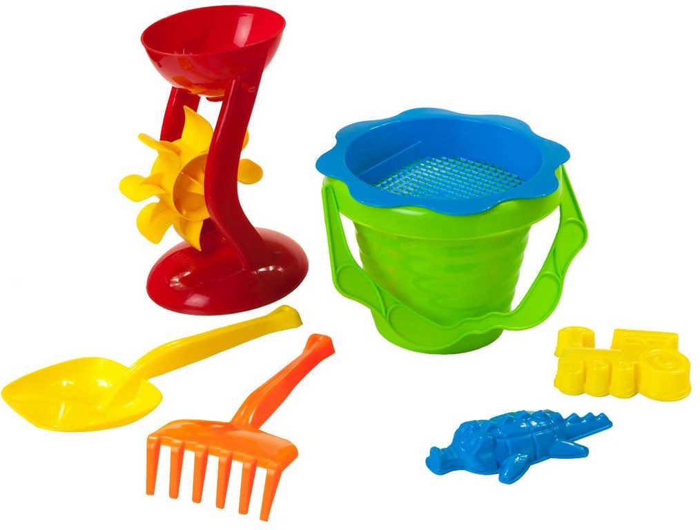 PL Baby pískový set kyblík vlnka s mlýnkem a formičkami 7ks