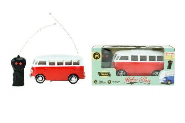Autobus retro RC na dálkové ovládání 27MHz plast 18cm na baterie se světlem v krabici 25x11x11cm