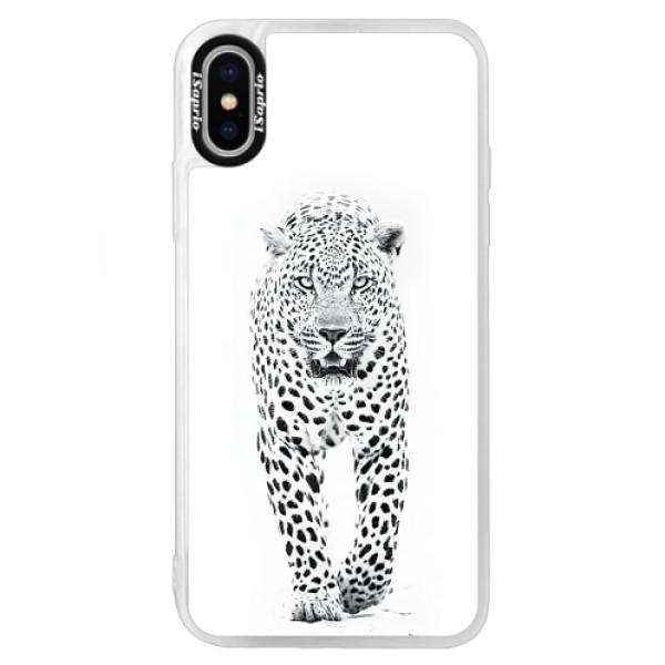 Neonové pouzdro Blue iSaprio - White Jaguar - iPhone XS