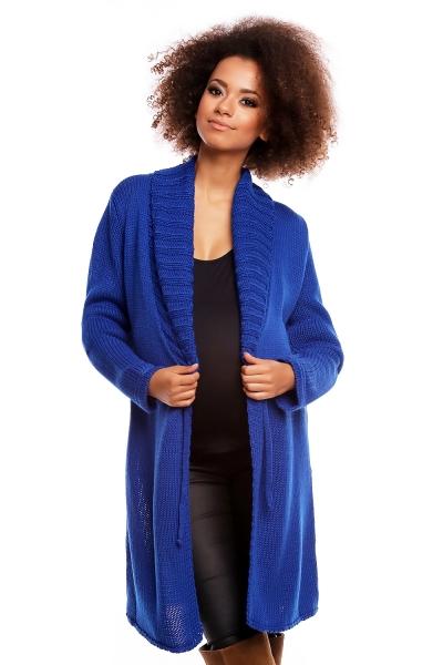 Delší těhotenský svetřík/kardigan s výrazným límcem - tm. modrý - UNI