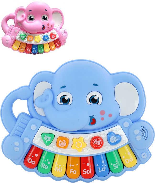 PL Baby pianko slon dětský keyboard na baterie Světlo Zvuk 2 barvy