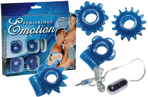 Sada modrých vibračních a nevibračních kroužků - 4er Penisringeset
