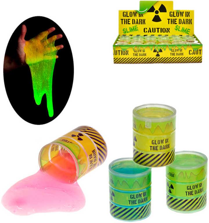 Sliz radioaktivní svítí ve tmě fosforeskující v barelu - 4 barvy