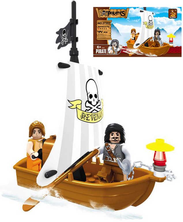 AUSINI Stavebnice PIRÁTI člun pirátský sada 44 dílků + 2 figurky plast