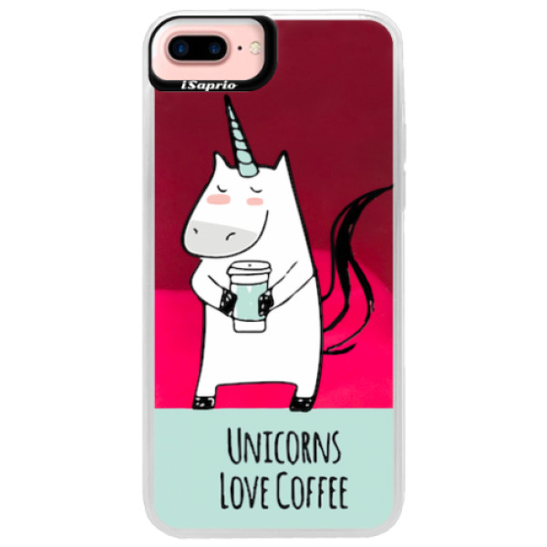 Neonové pouzdro Pink iSaprio - Unicorns Love Coffee - iPhone 7 Plus