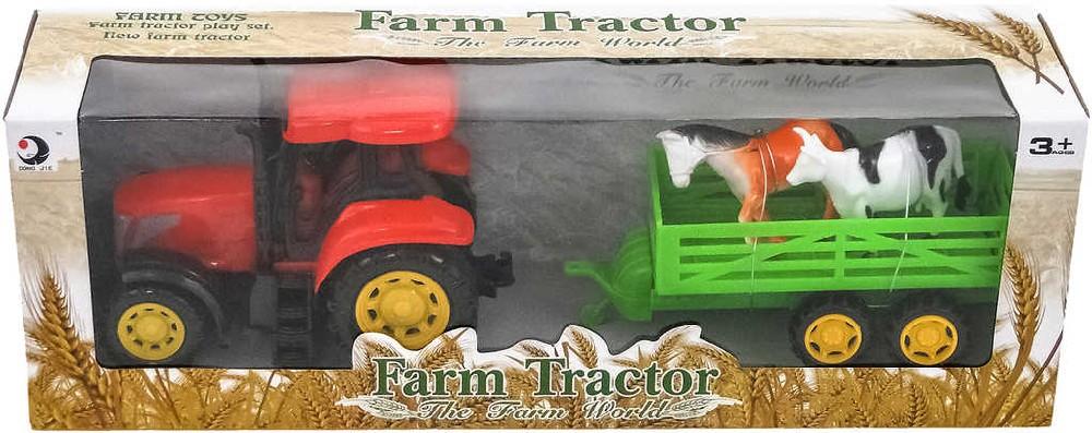 Traktor farmářský 15cm set s vlečkou se 2 zvířaty na setrvačník plast