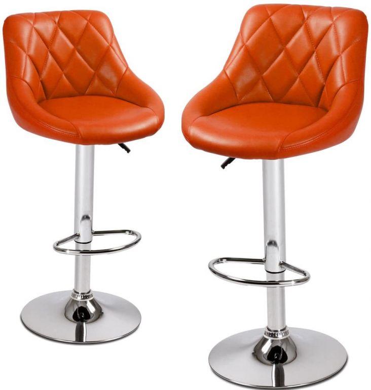 Koženková barová stolička, oranžová - 2 ks
