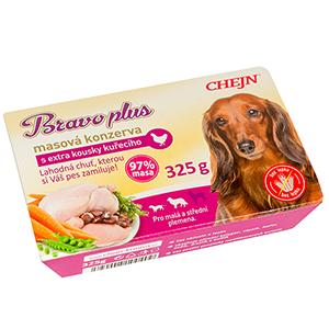 BRAVO plus s kuřecím vanička pro psy 325 g