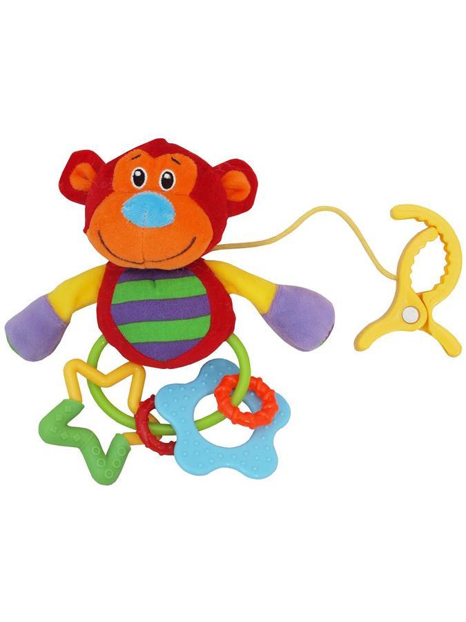 Plyšová hračka s chrastítkem Baby Mix opička s klipem - červená
