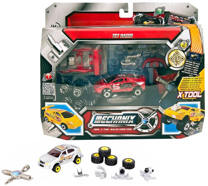 Auto 7 cm kov Set s nářadím 6 druhů 2 barvy V krabičce