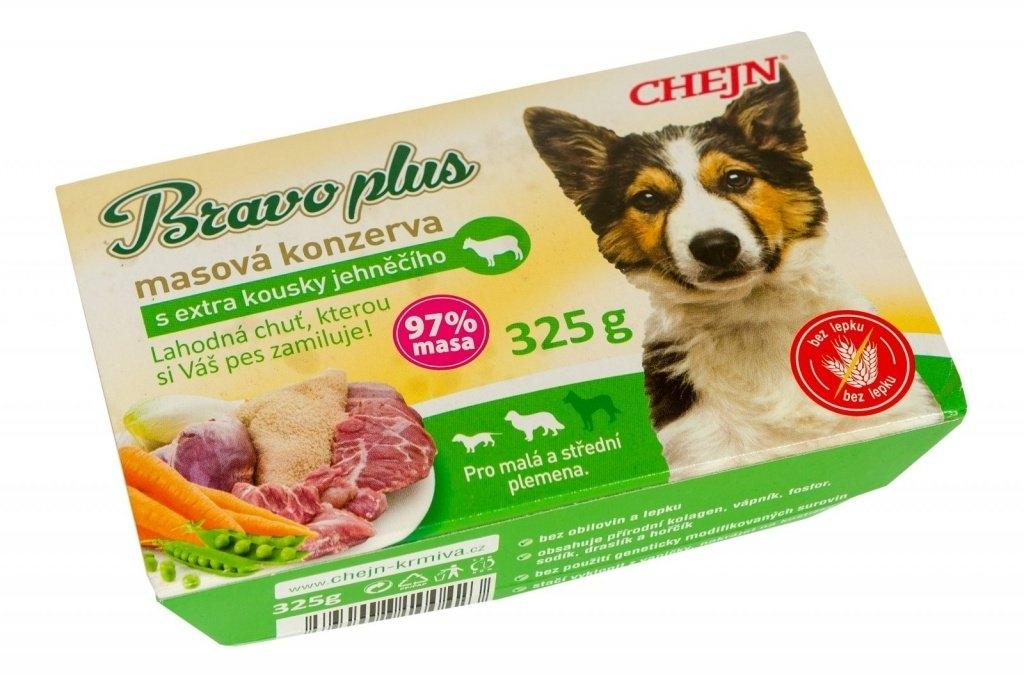 BRAVO plus s jehněčím vanička pro psy 325 g
