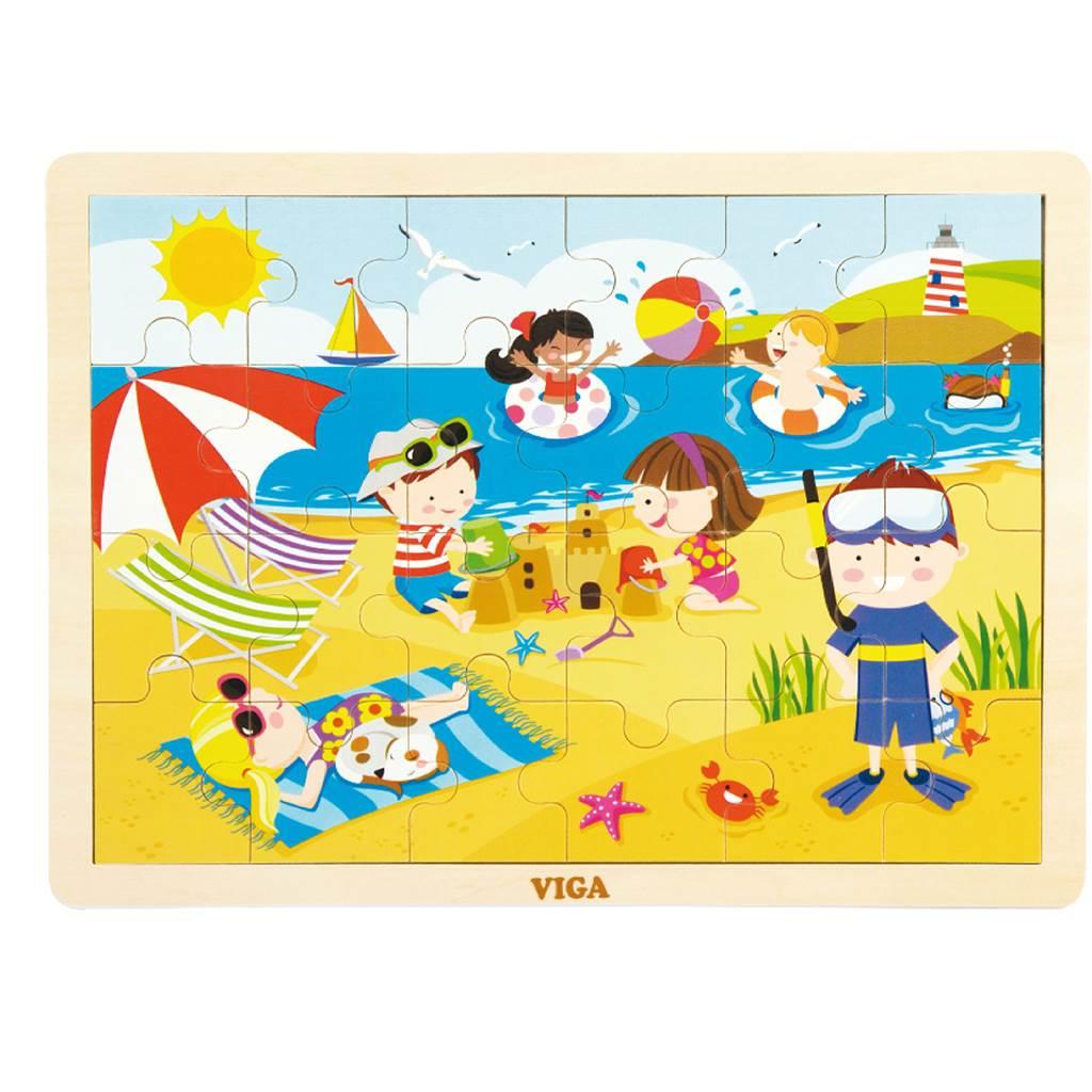 Dětské dřevěné puzzle Viga Léto - multicolor
